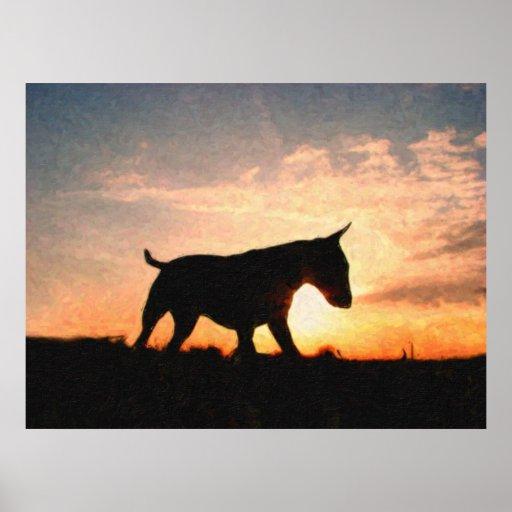 Bull Terrier Sunset Oil Paint Style Poster