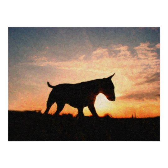 Bull Terrier Sunset Oil Paint Style Poster