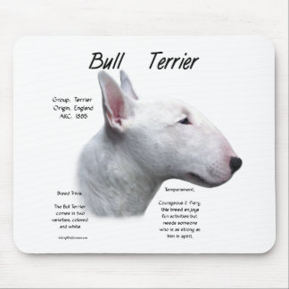 Bull Terrier (wht) History Design Mouse Pad
