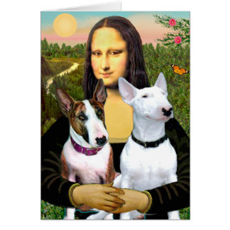 Bull Terriers (Two) - Mona Lisa Greeting Card