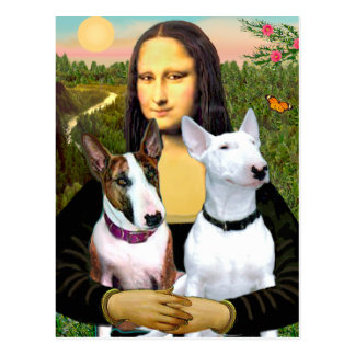 Bull Terriers (Two) - Mona Lisa Postcard
