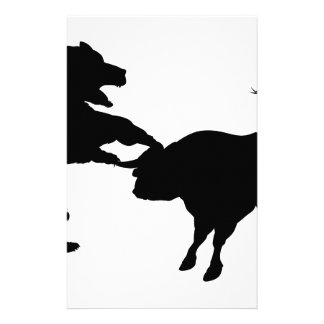 Bull Versus Bear Silhouette Concept Personalised Stationery