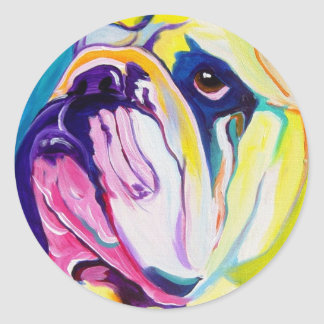 Bulldog #1 classic round sticker