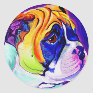 Bulldog #3 round sticker