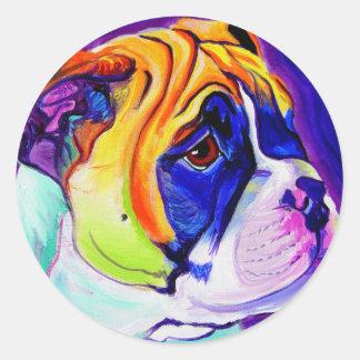 Bulldog #3 classic round sticker
