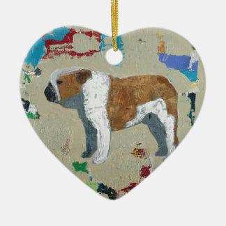 Bulldog Abstract Art Ornament