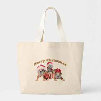 Bulldog and Kitten Merry Christmas Tote Canvas Bags