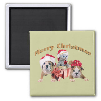 Bulldog and Kittens Merry Christmas gifts Square Magnet