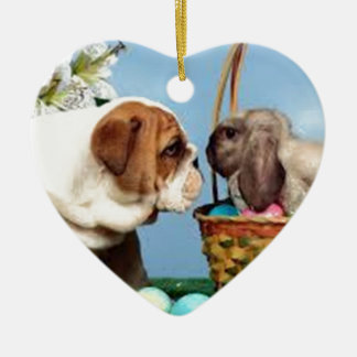 Bulldog and Rabbit Ceramic Heart Decoration
