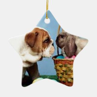 Bulldog and Rabbit Ceramic Star Decoration