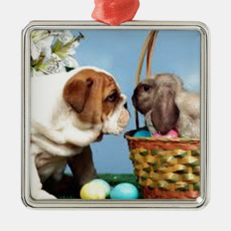 Bulldog and Rabbit Christmas Ornament