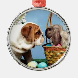 Bulldog and Rabbit Silver-Colored Round Decoration