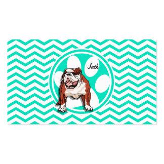 Bulldog Aqua Green Chevron Business Cards