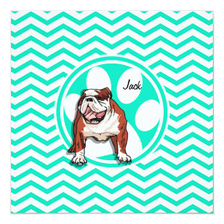 Bulldog; Aqua Green Chevron Card
