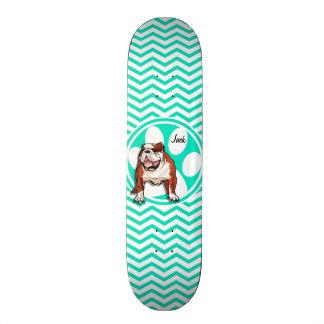 Bulldog; Aqua Green Chevron Custom Skateboard