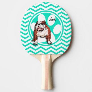 Bulldog; Aqua Green Chevron Ping Pong Paddle