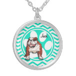 Bulldog; Aqua Green Chevron Round Pendant Necklace