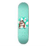 Bulldog; Aqua Green Chevron Skate Board Deck