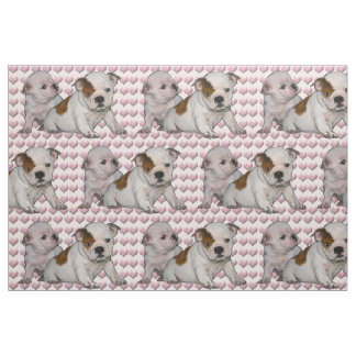 Bulldog Babies and Hearts fabric