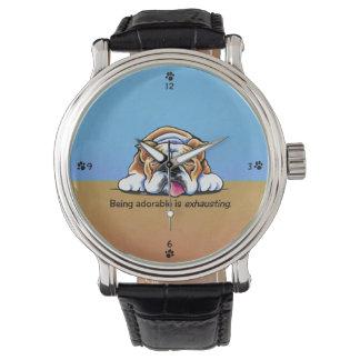 Bulldog Being Adorable Blue Off-Leash Art™ Watch