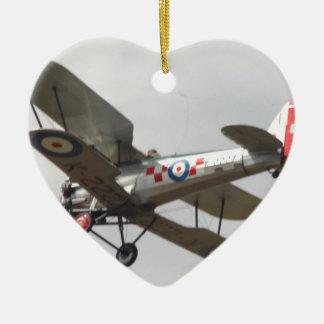 Bulldog Biplane Ceramic Heart Decoration