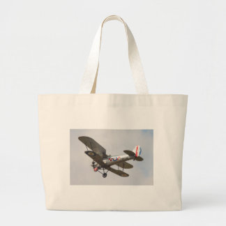 Bulldog Biplane Large Tote Bag