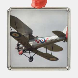 Bulldog Biplane Silver-Colored Square Decoration