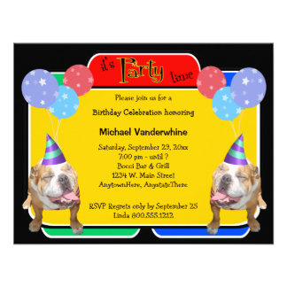 Bulldog Birthday Barker Invites