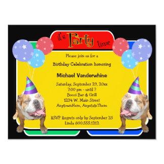 "Bulldog Birthday Barker 4.25"" X 5.5"" Invitation Card"