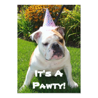 Bulldog Birthday Party Card