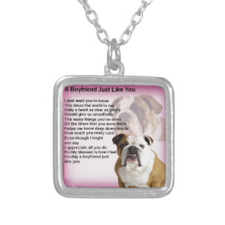 Bulldog  Boyfriend Poem Silver Plated Necklace