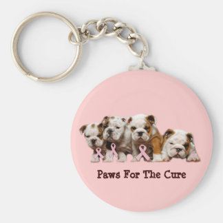 Bulldog Breast Cancer Keychain