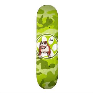 Bulldog; bright green camo, camouflage custom skate board