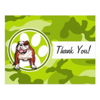 Bulldog; bright green camo, camouflage post card