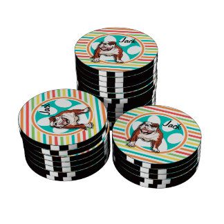 Bulldog; Bright Rainbow Stripes Set Of Poker Chips