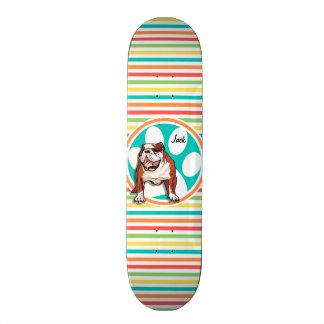 Bulldog; Bright Rainbow Stripes Skate Board Deck