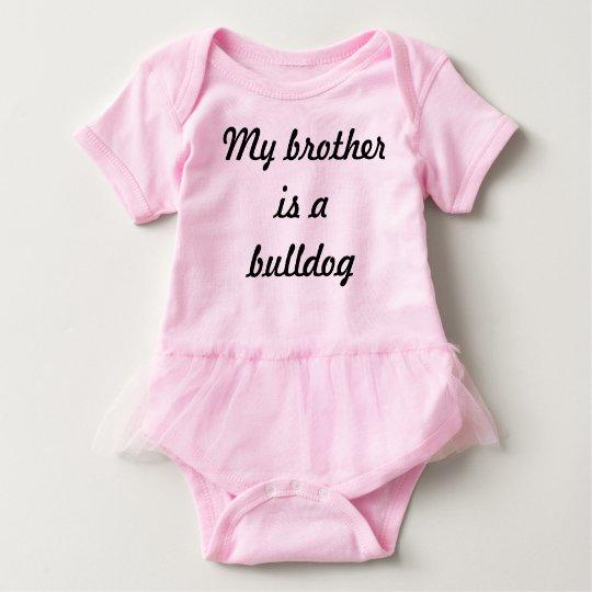 Bulldog brother baby bodysuit with tutu