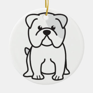 Bulldog Cartoon Christmas Ornament