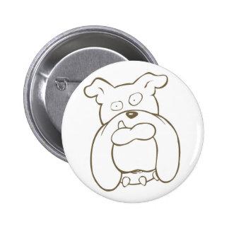 Bulldog Cartoon Face with Spiked Collar Button