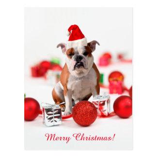 Bulldog Christmas Gift Box Ornaments Red Santa Hat Postcard