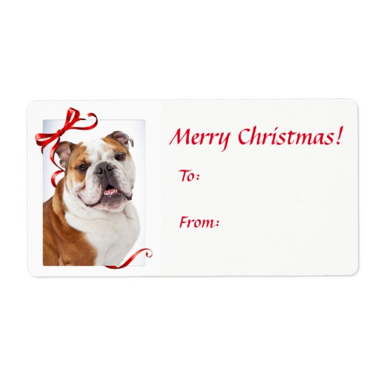 Bulldog Christmas Gift Stickers