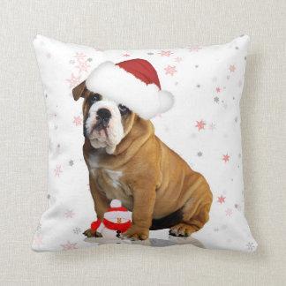 Bulldog Christmas Holiday Pillow