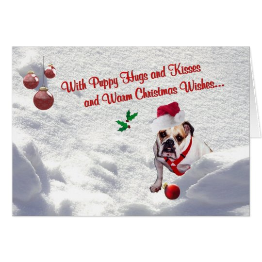 Bulldog Christmas Snow Scene Wishes Greeting Card