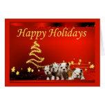 Bulldog Christmas Stars Greeting Card