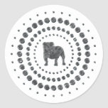 Bulldog Chrome Studs Round Sticker