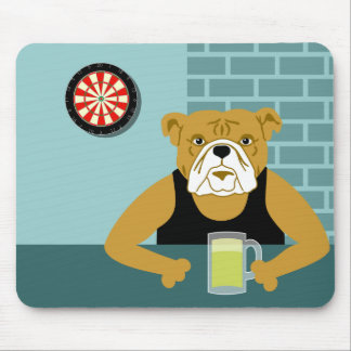 Bulldog Dartboard Beer Bar Mouse Pad