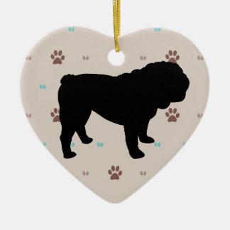 Bulldog Ceramic Heart Decoration