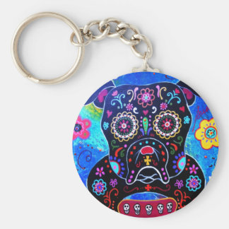 Bulldog Dia de los Muertos Painting Basic Round Button Key Ring
