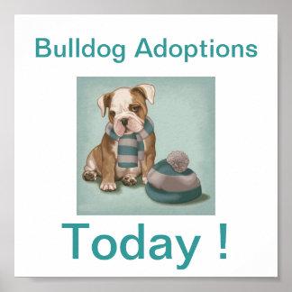 Bulldog Dog Adoption Today Signs Poster