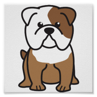 Bulldog Dog Cartoon Poster